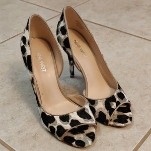 Nine West cow fur heels